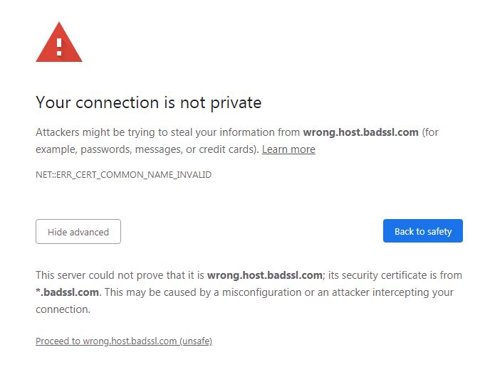 Chrome warning if the TLS certificate does not match the domain