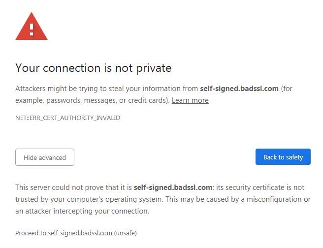 Chrome's warning for self-signed certificates